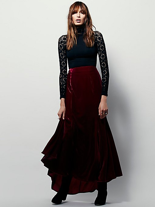 FP X Curtain Call Velvet Maxi Skirt