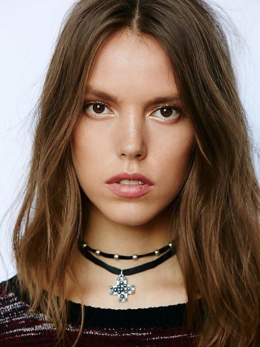 Nila Leather Cross Choker