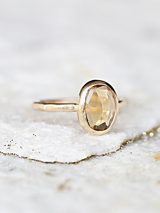 Raw Citrine Slice Ring