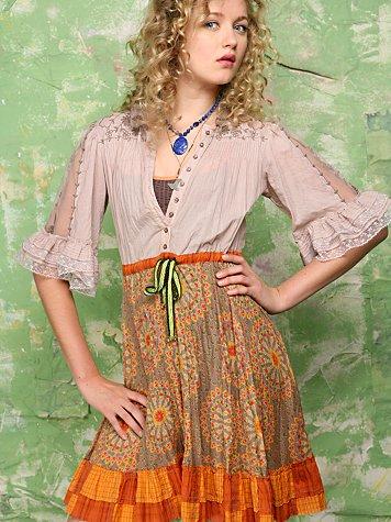 Rosette Peasant Dress