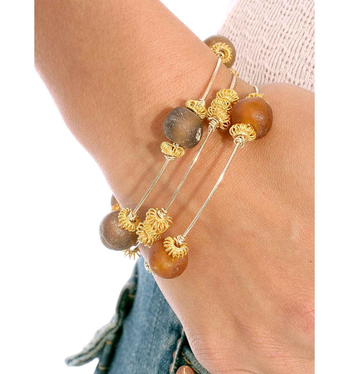 Glass Bead & Gold Bangle by Citrine by the Stones