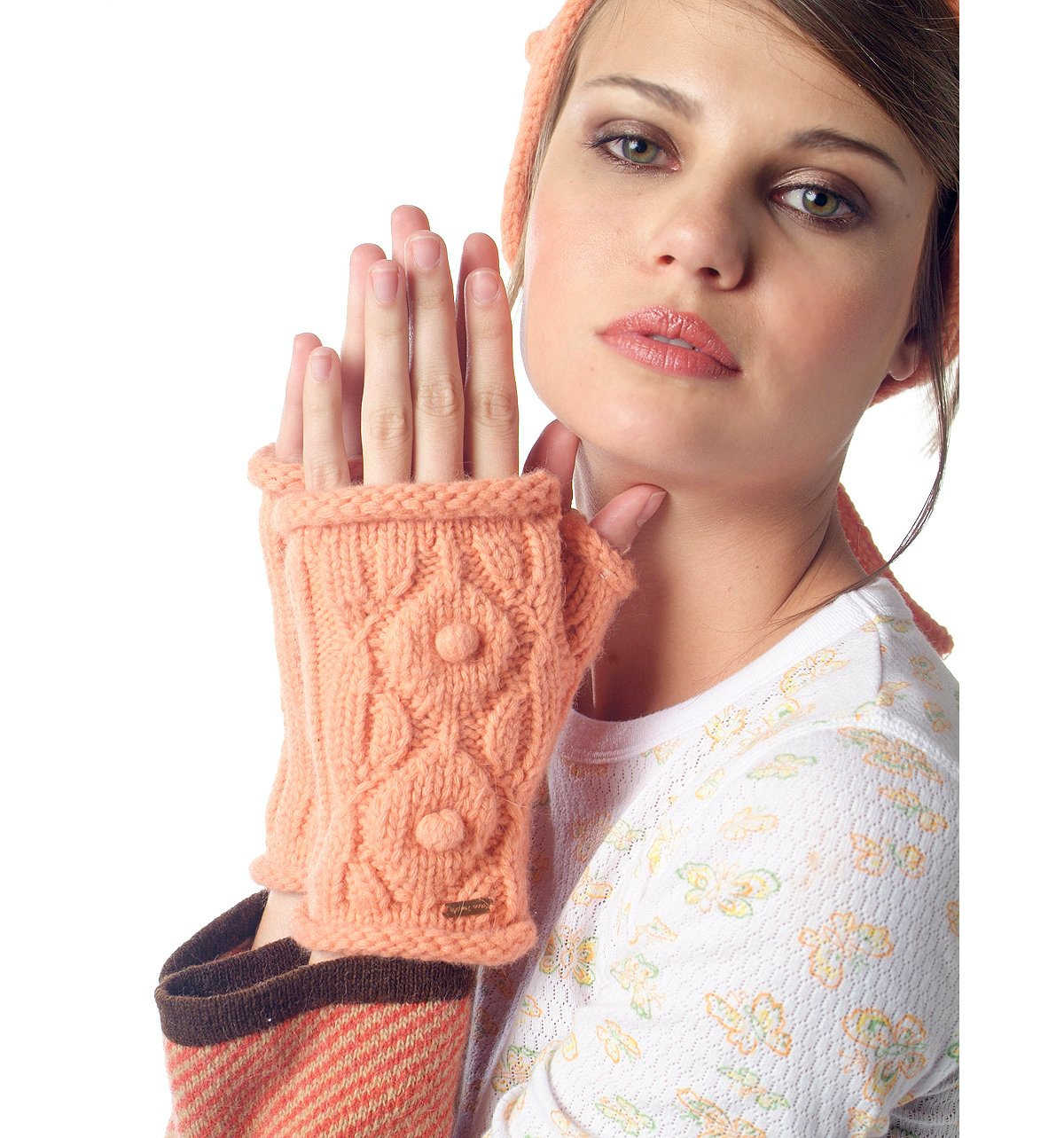 Snow Ball Angora Fingerless Glove