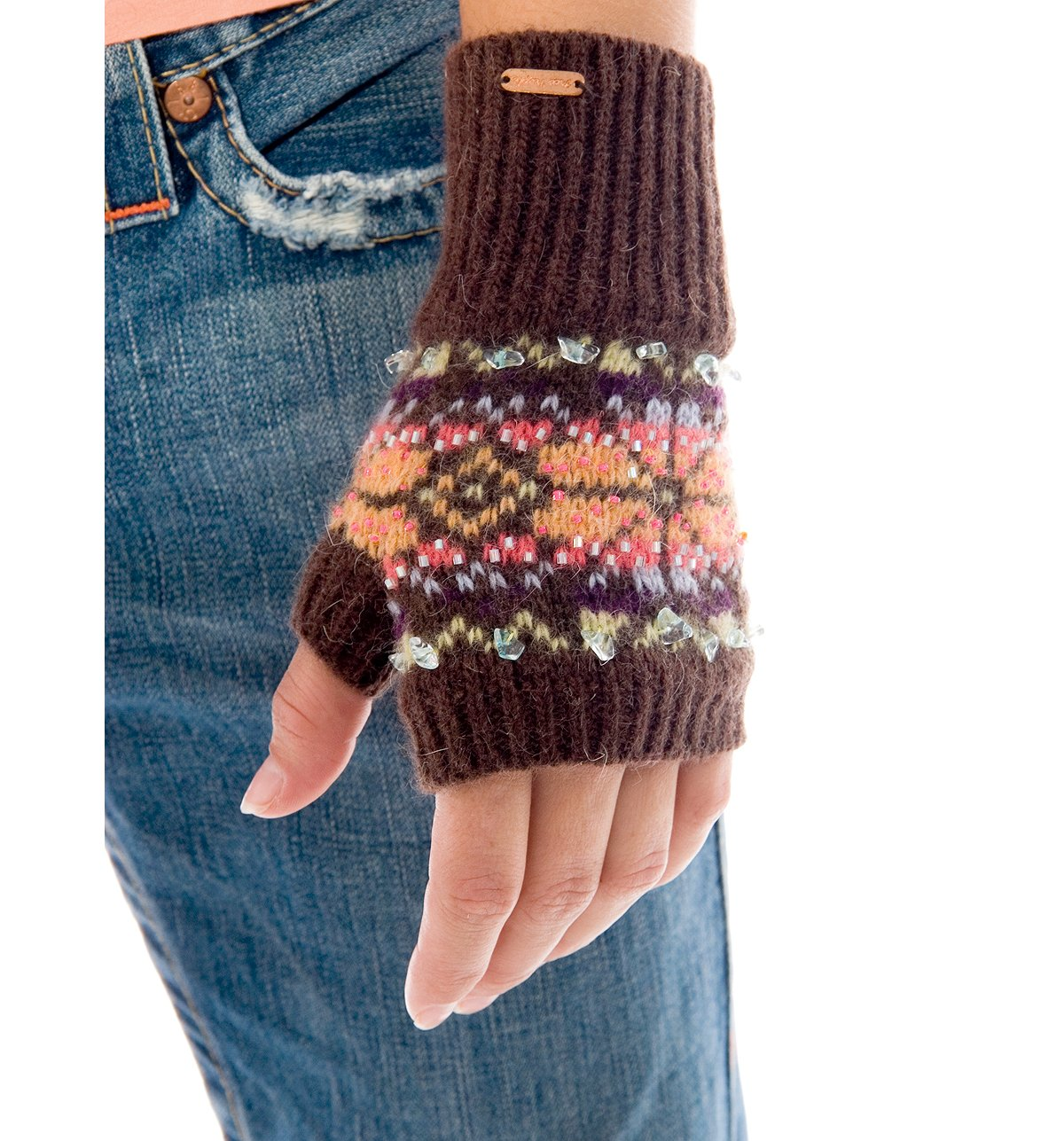 --Snowflake Fingerless Glove