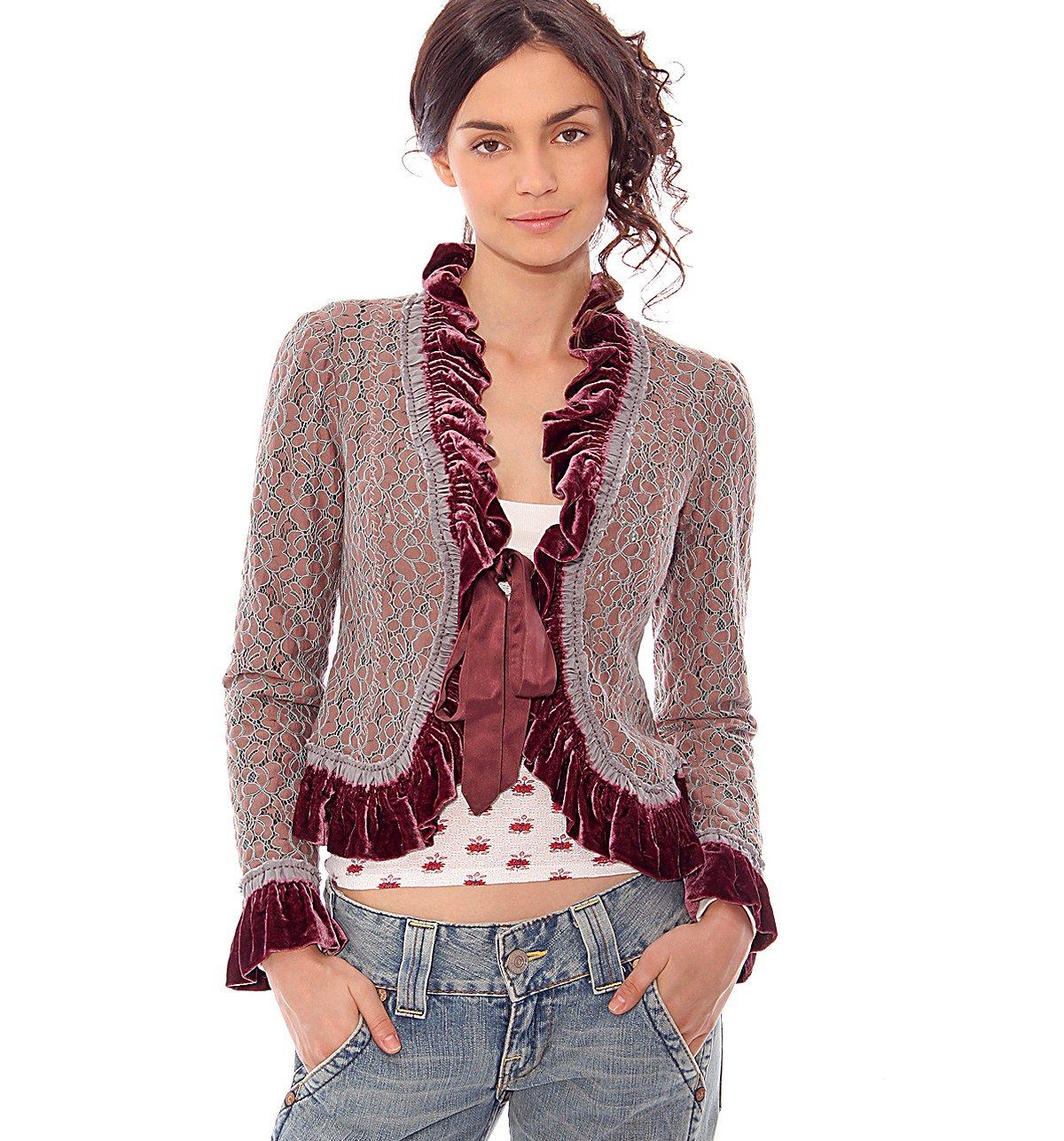 Vintage Belted & Lace Velvet Jacket