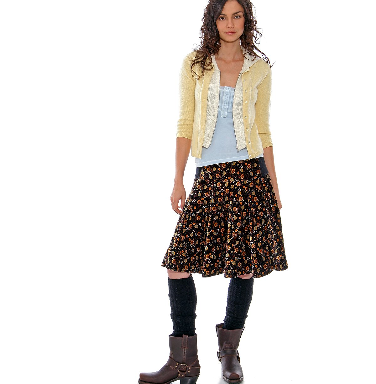 Pull on Velveteen Flowers Skirt