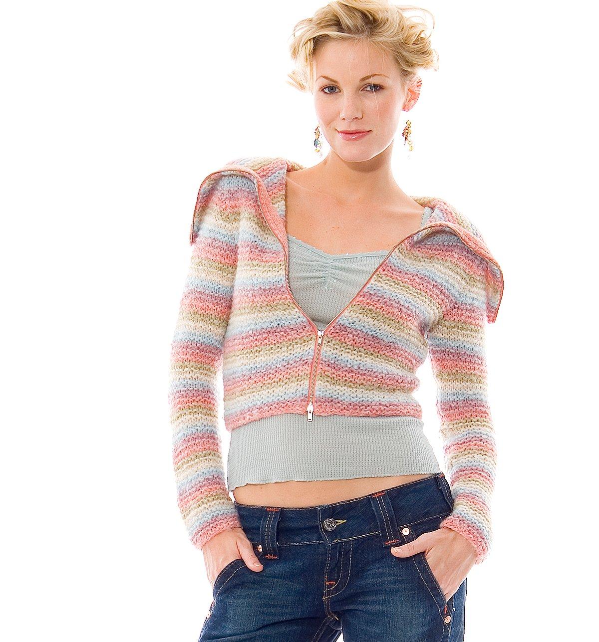 Kit Stripe Collar Zip Cardigan