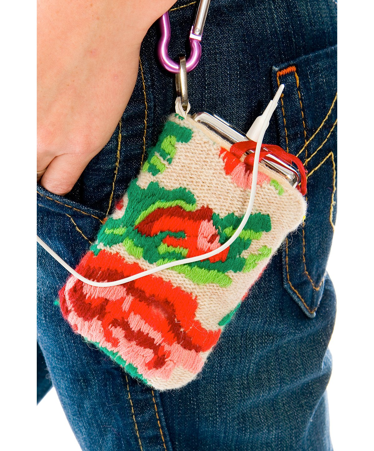 Embroidered Roses Large Ipod Holder