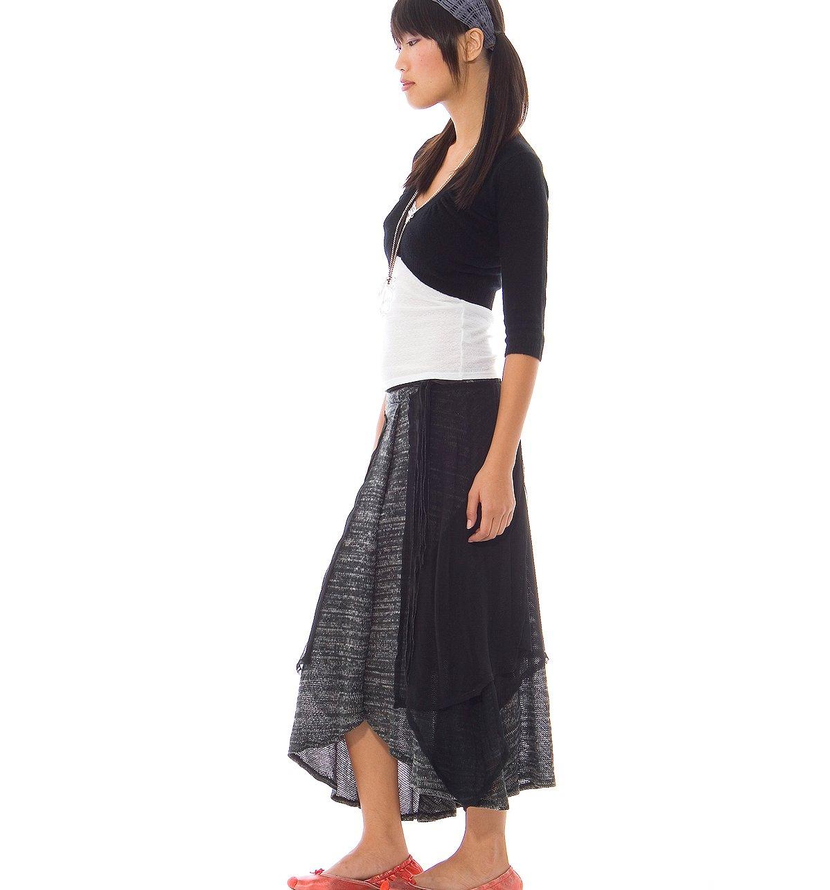 Layered & Knit Chiffon Skirt
