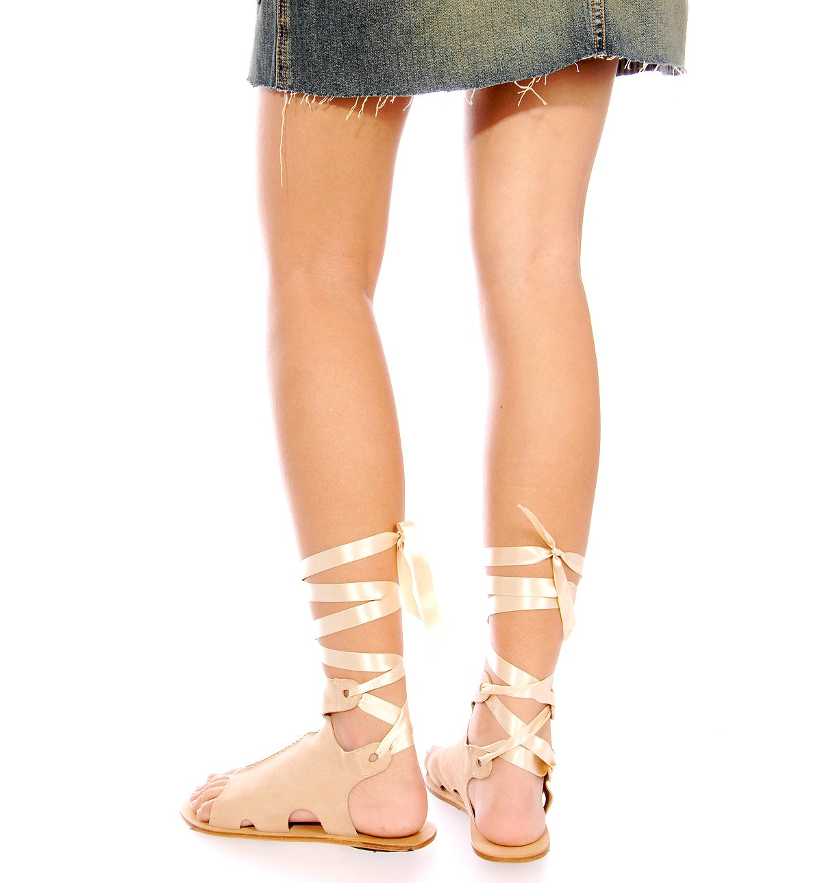 Goat Suede Ankle Wrap Sandal