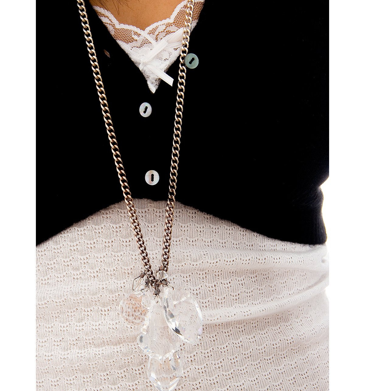 Kirt Holmes Long Crystal Charm Chain Necklace