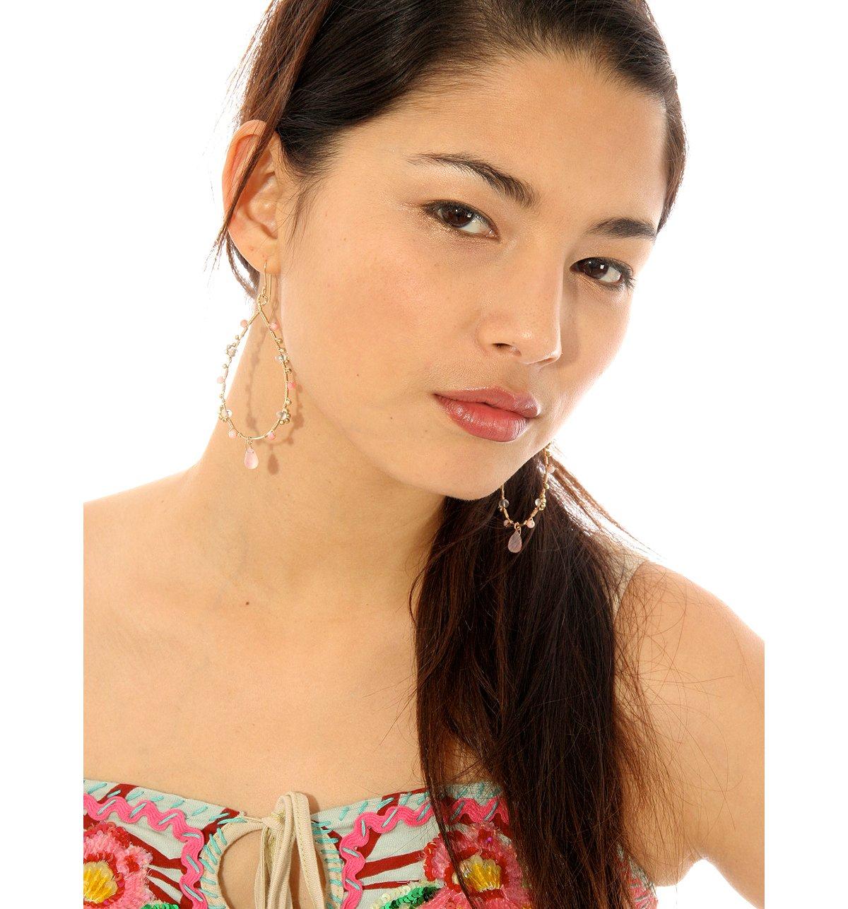 Raphaela Pasqualina Pink Quartz Gold Loop Earring