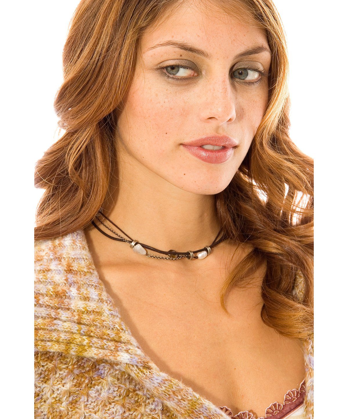 Beth Orduna Short Leather Chain Necklace