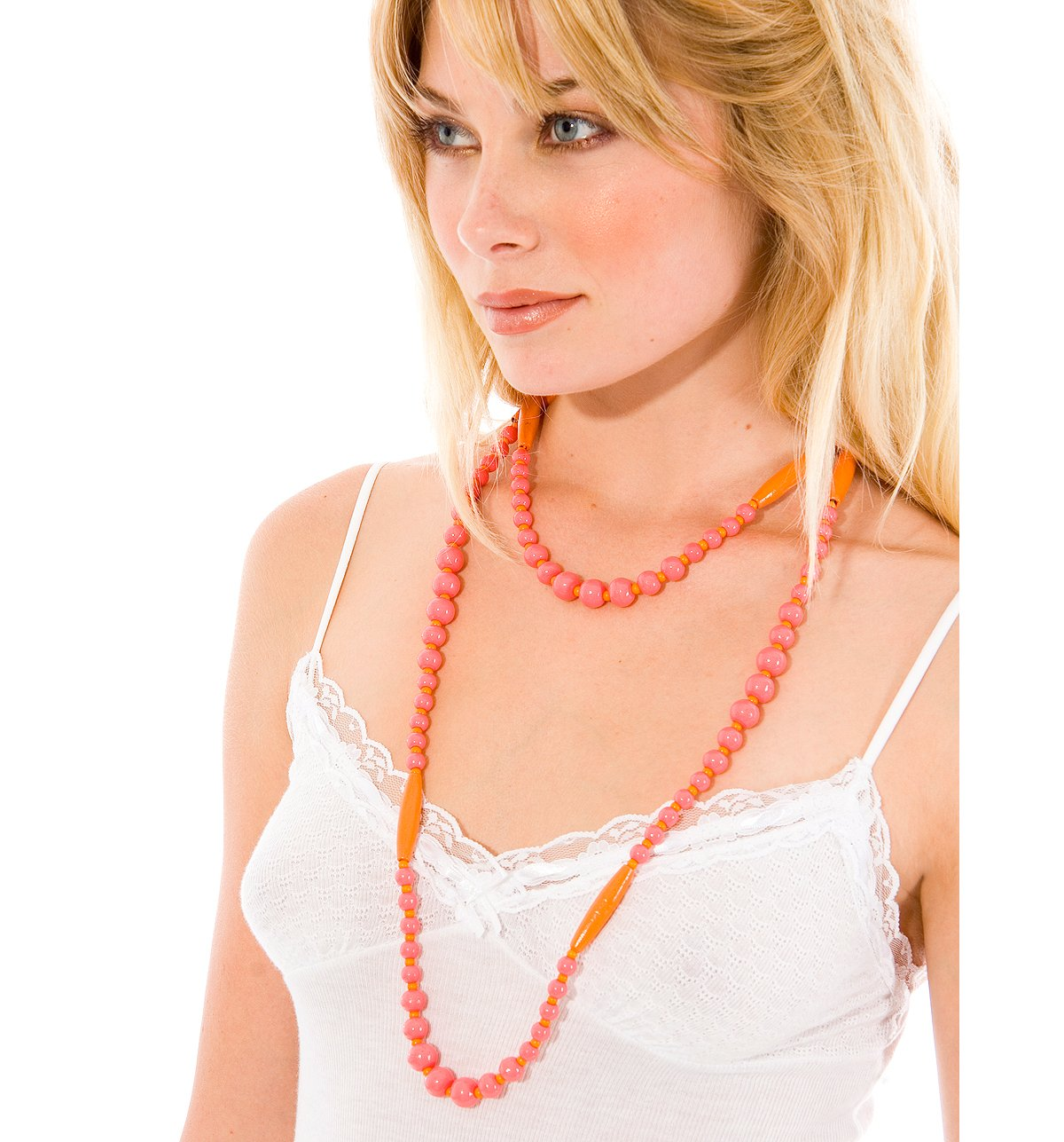 --Long Bone & Bead Necklace