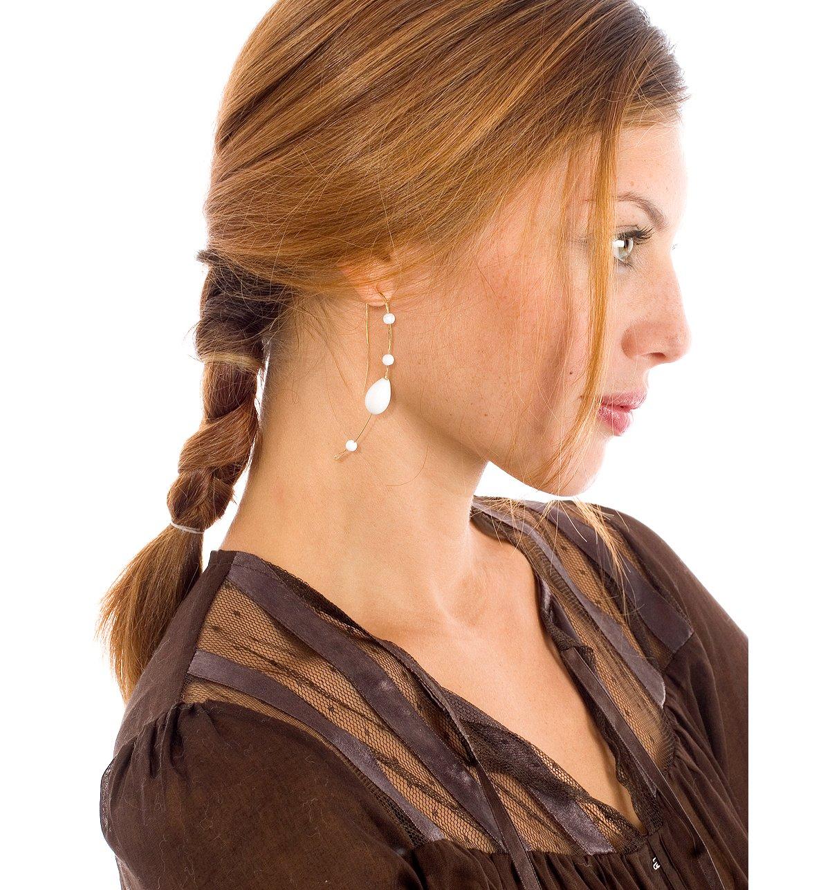 Fishhook Milk Glass Bead Earring