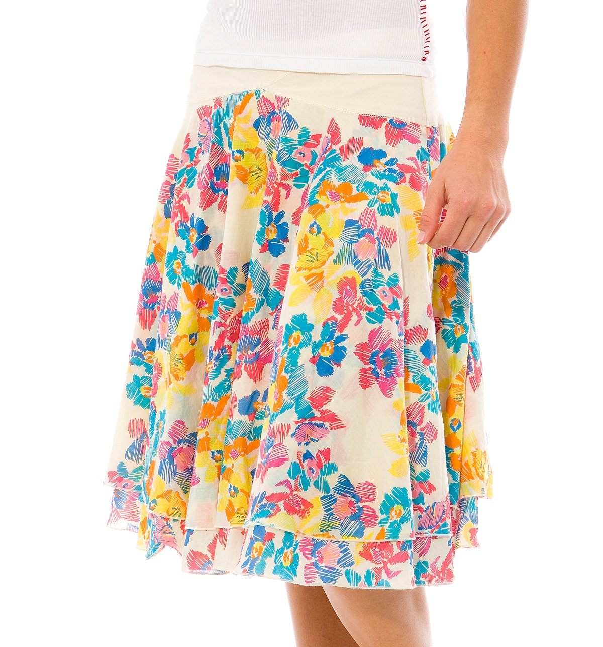 Sketch Flower Layered Yoke Skirt