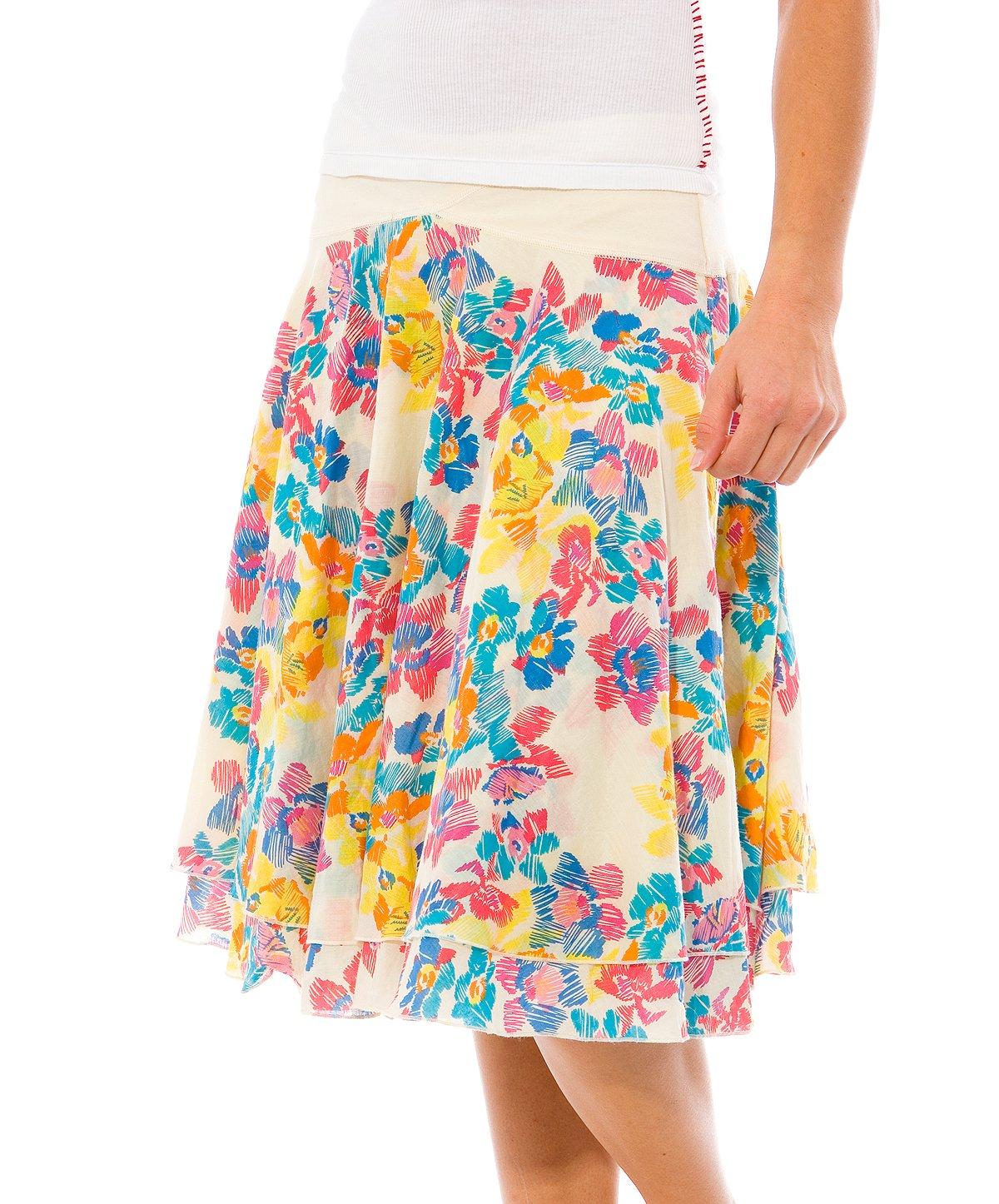 Sketch Flower Layered Yoke Skirt