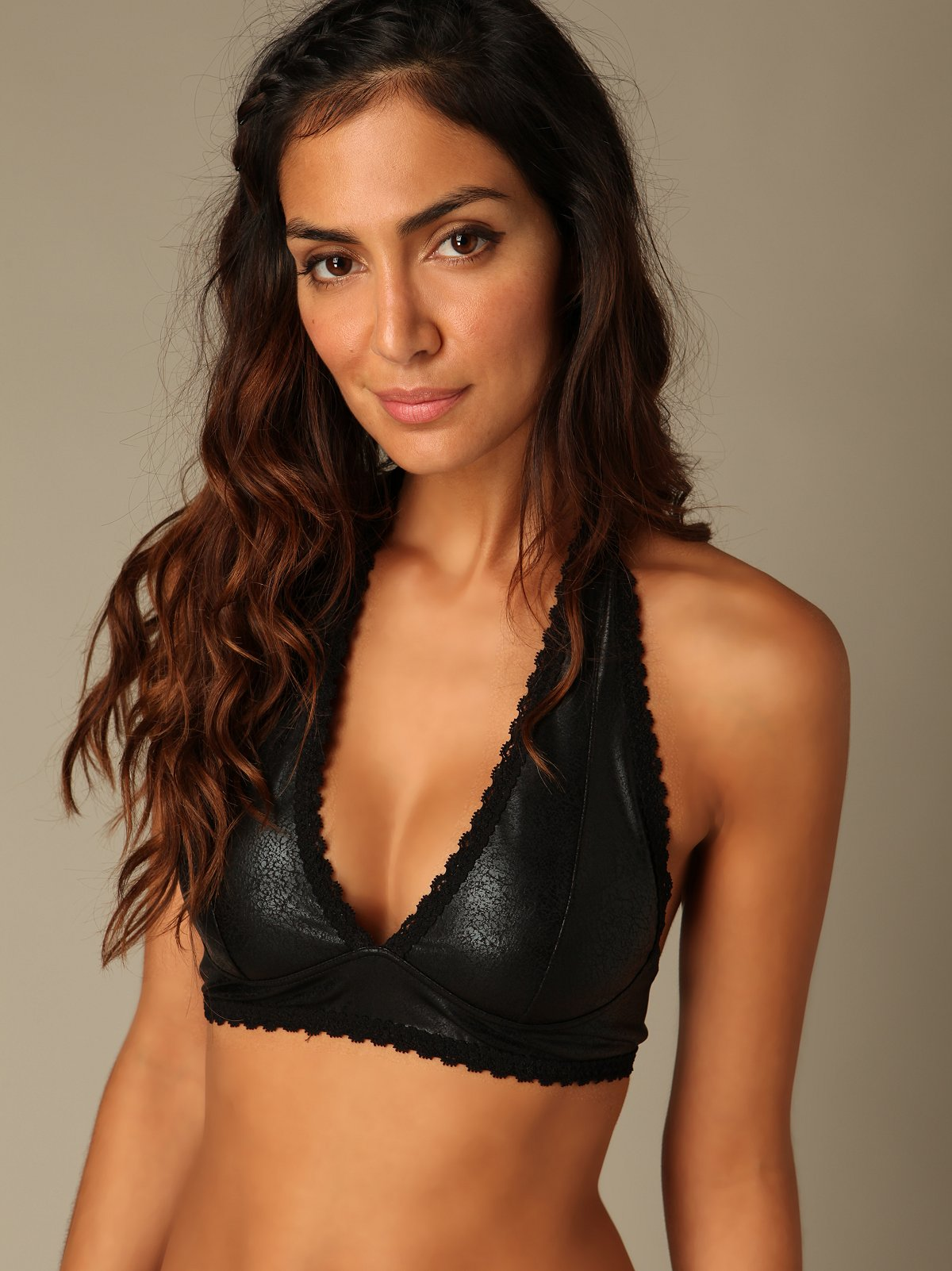 Faux Leather Halter Bralette
