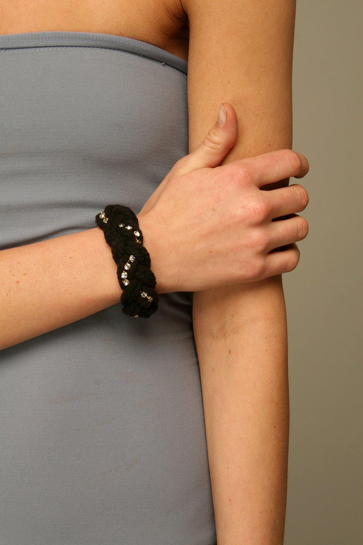Braided Rope & Rhinestone Bracelet