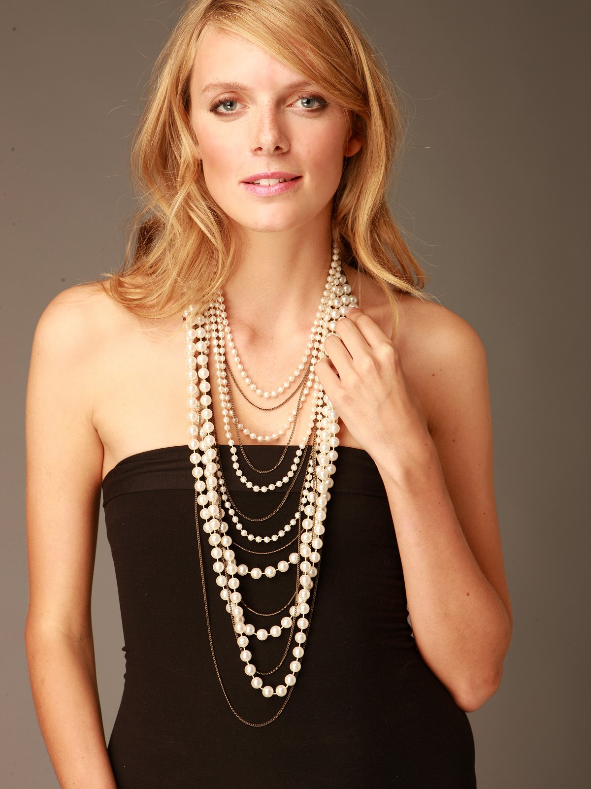 Layered Pearl Necklace With Chain