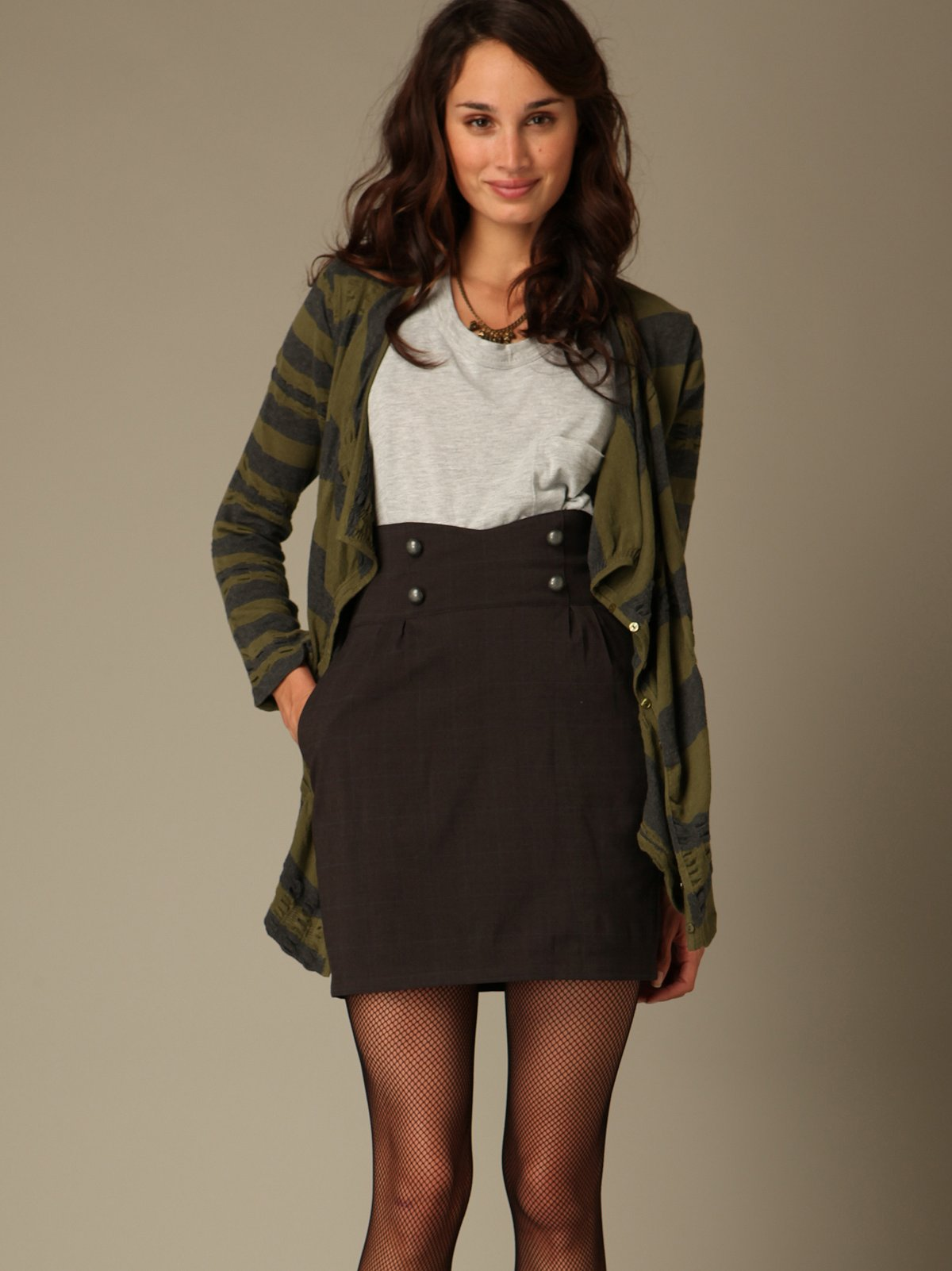High Waisted Button Skirt