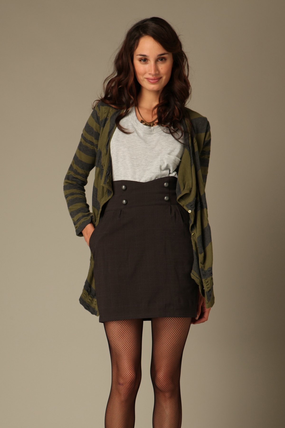High Waisted Button Skirt at Free People Clothing Boutique