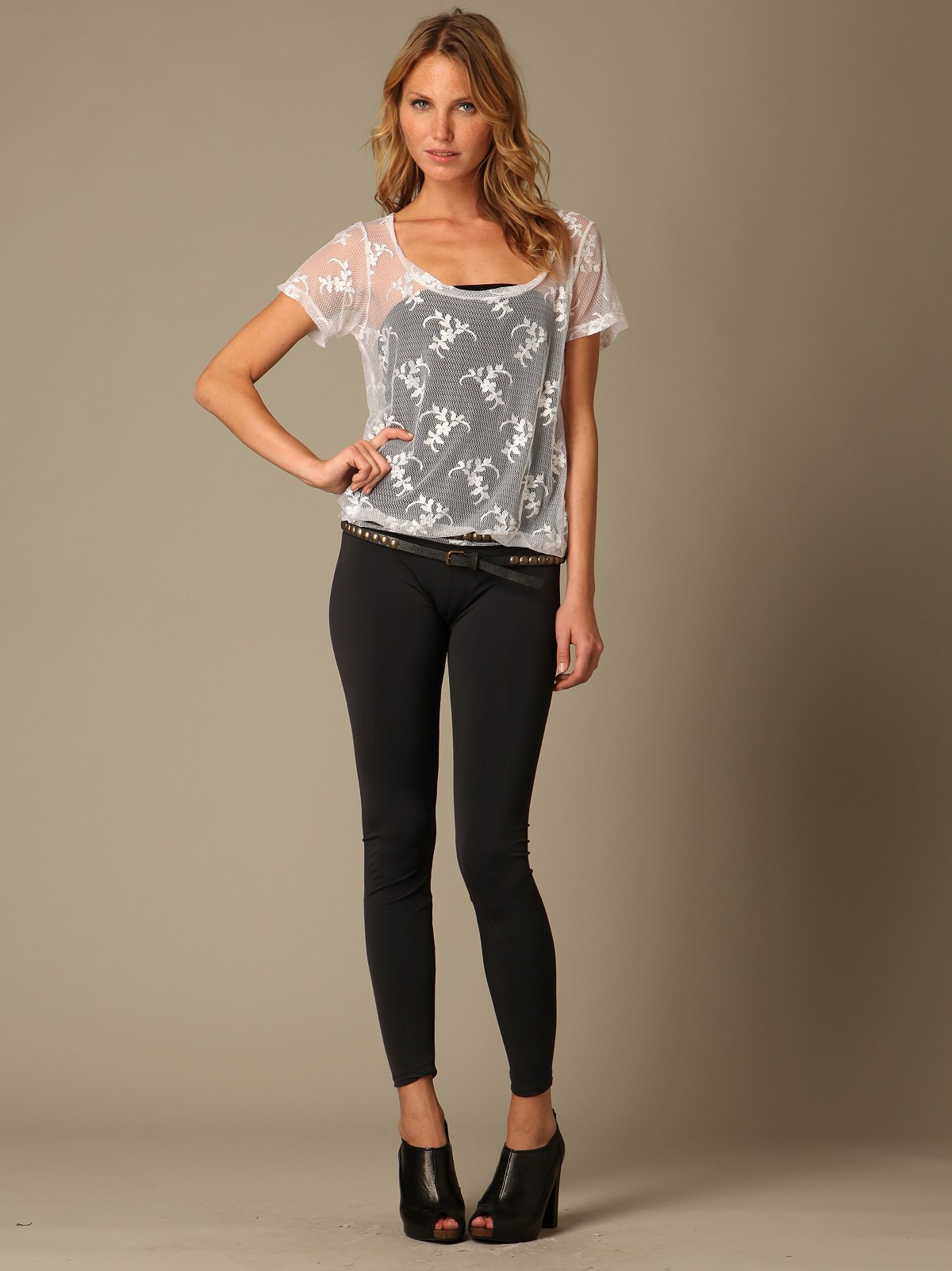 LnA Lace Tee Legging Bodysuit