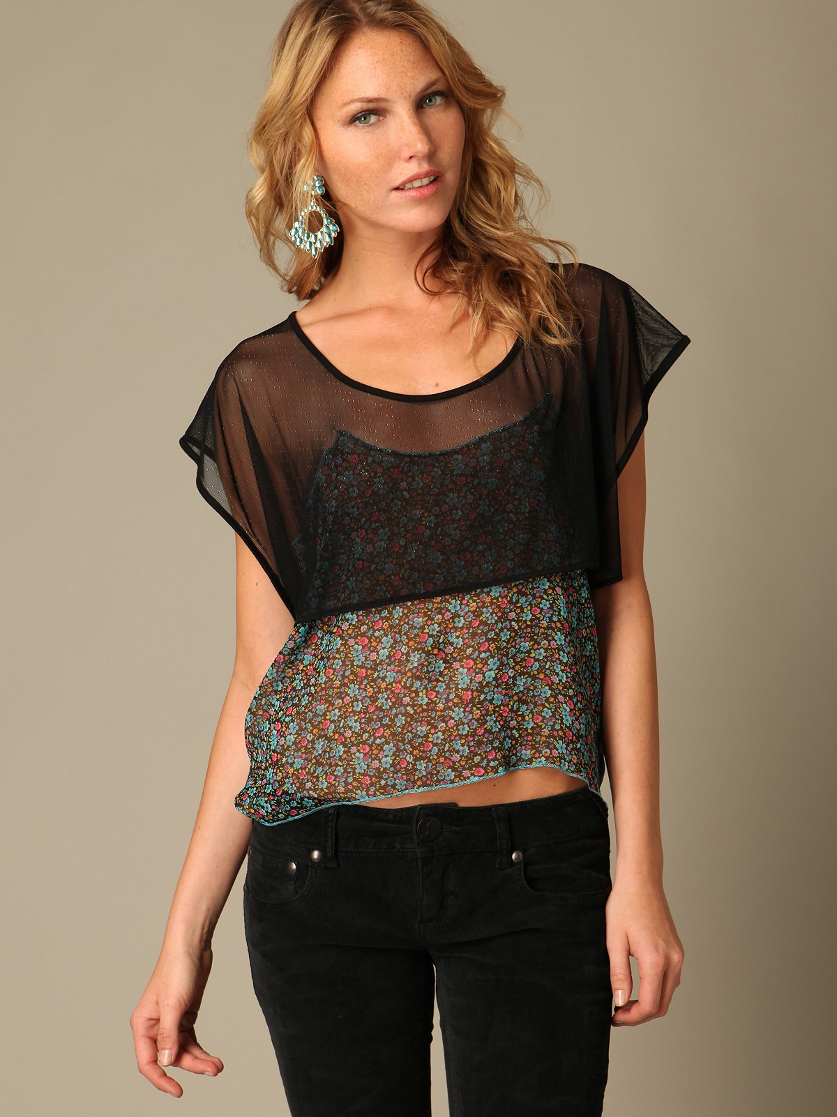 Cropped Mesh Floral Top