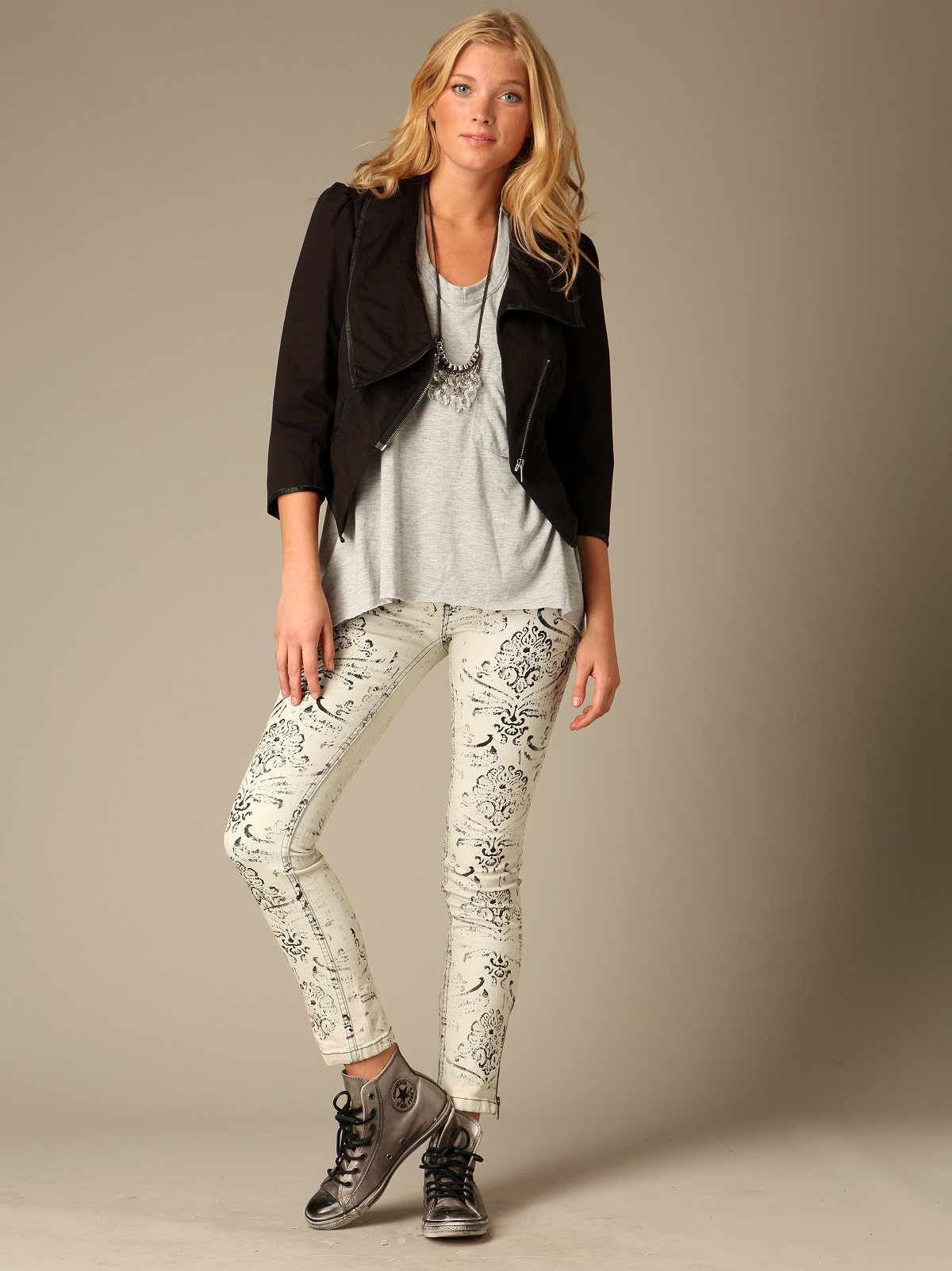 FP Lace Stencil Skinny Jeans