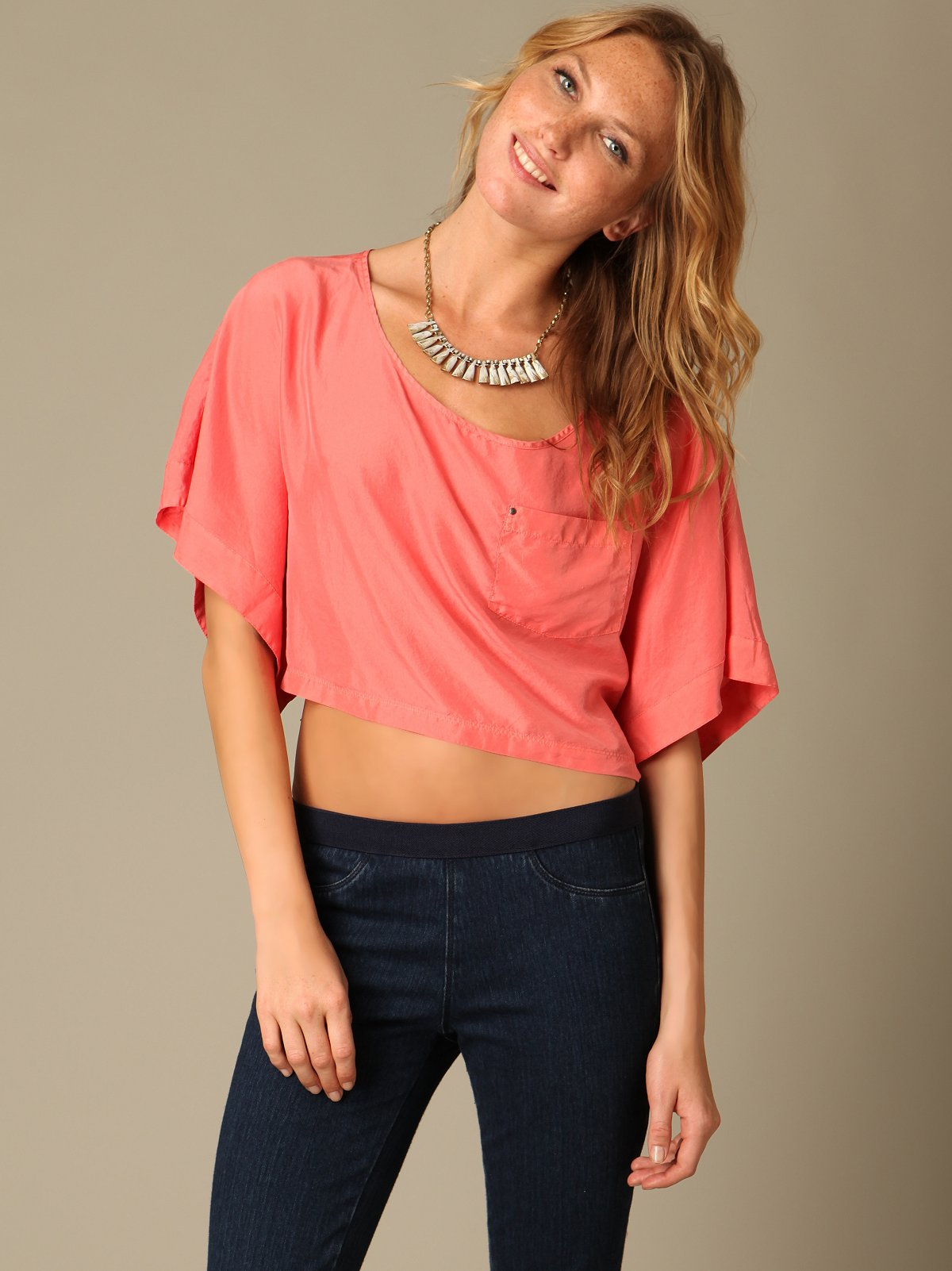 We The Free Silk Cropped Pocket Tee