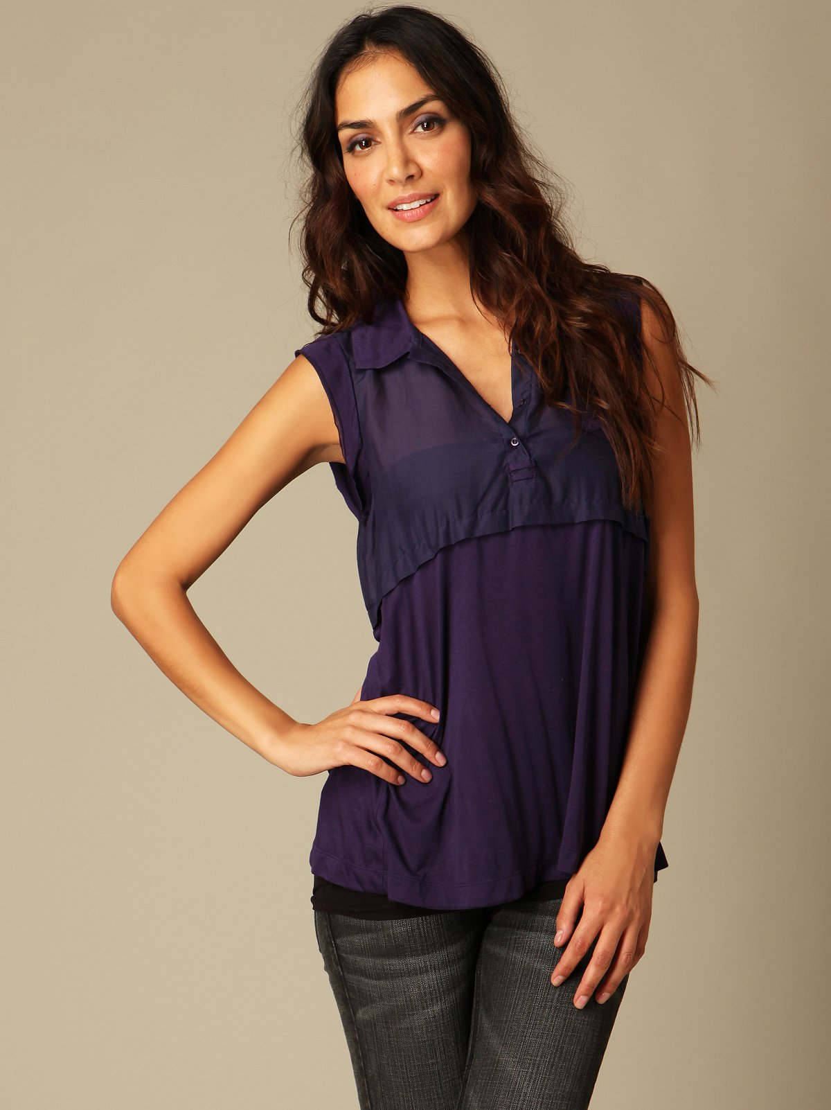 Woven And Knit Pocket Tunic