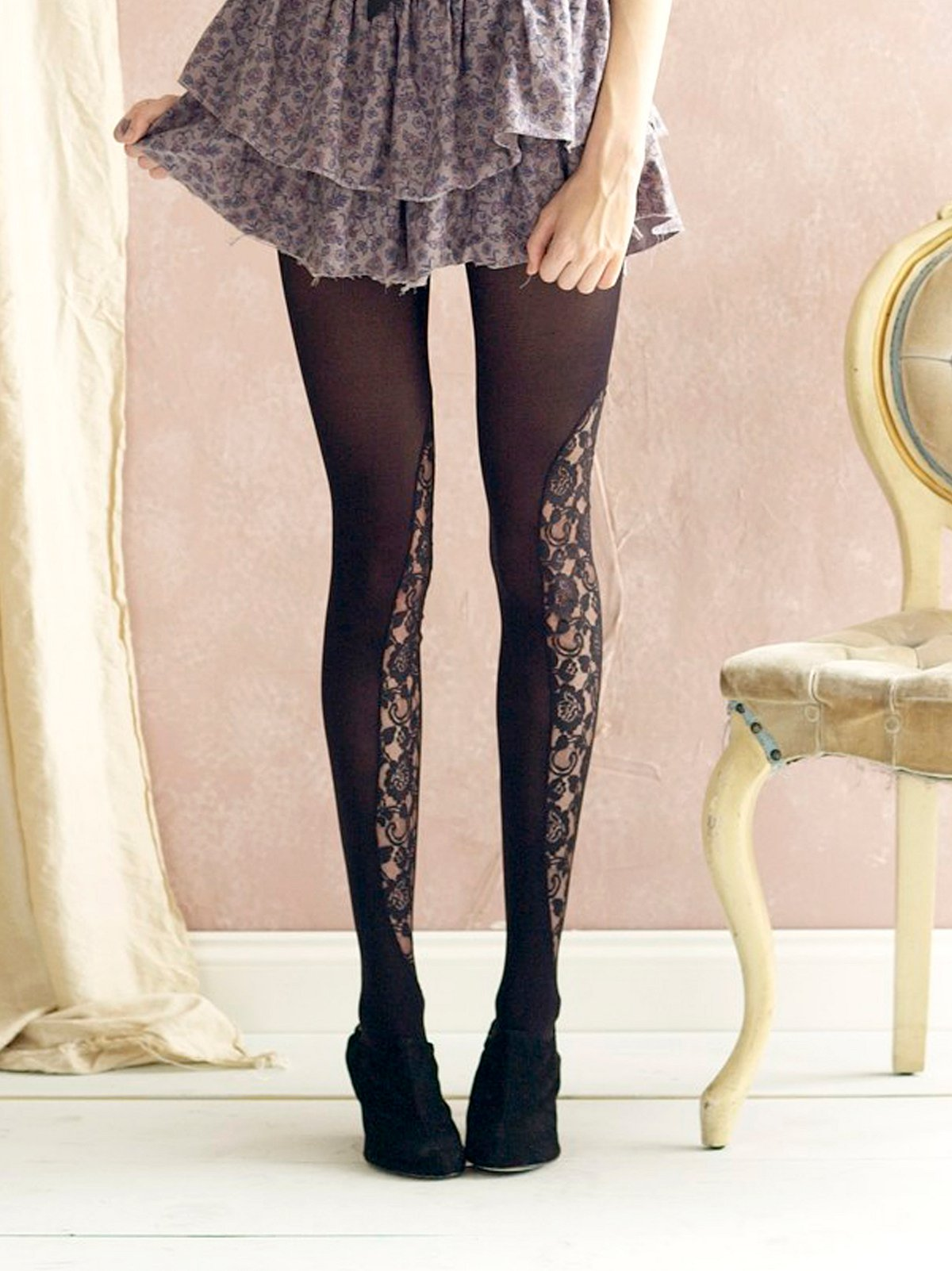 Lace Peek A Boo Tights by Emilio Cavallini