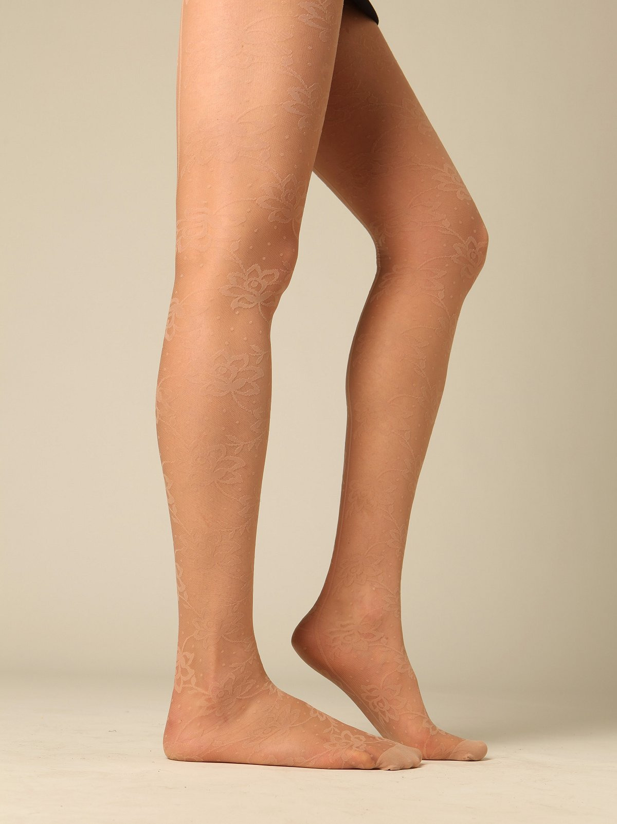 Nude Floral Back Seam Tights by Emilio Cavallini