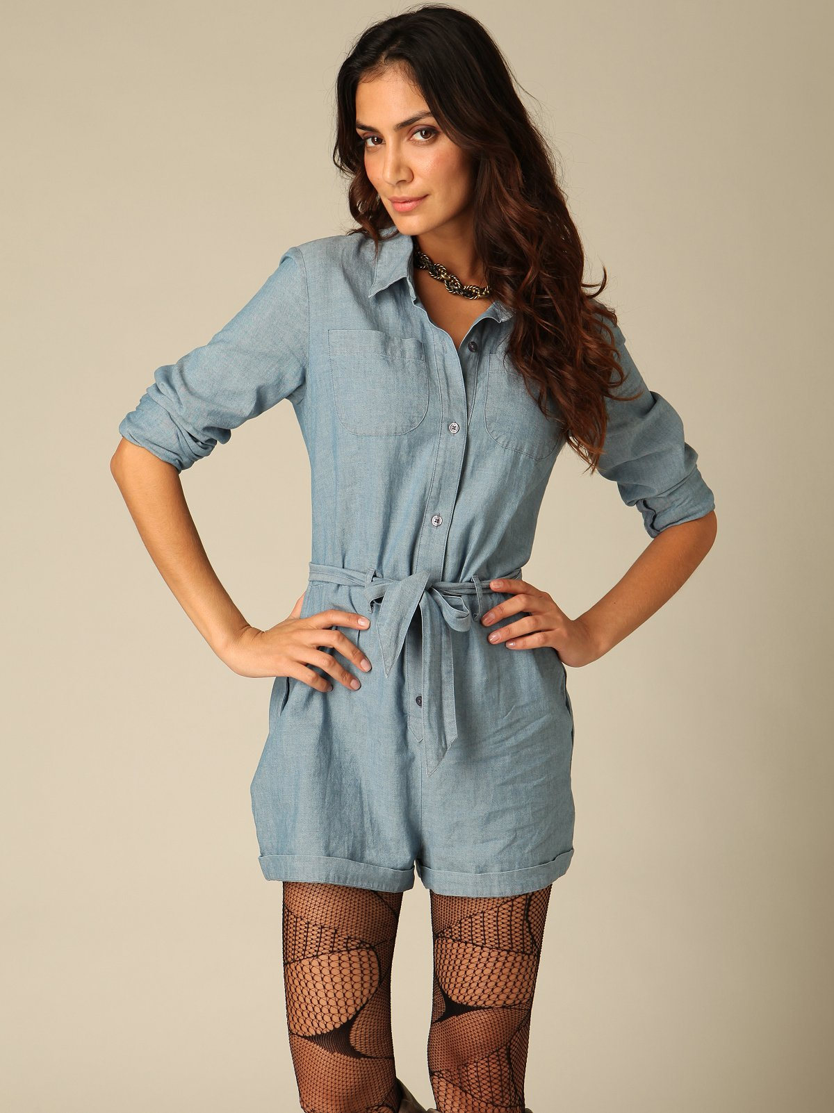 Woven Solid Romper