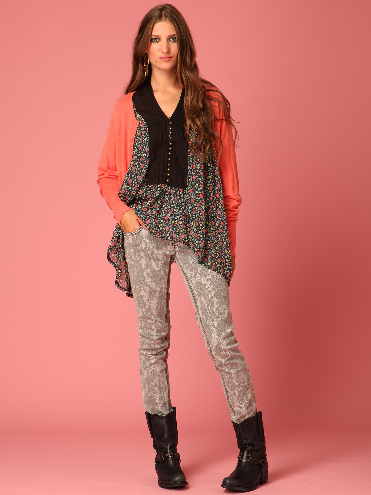 Lace Print Skinny Jean