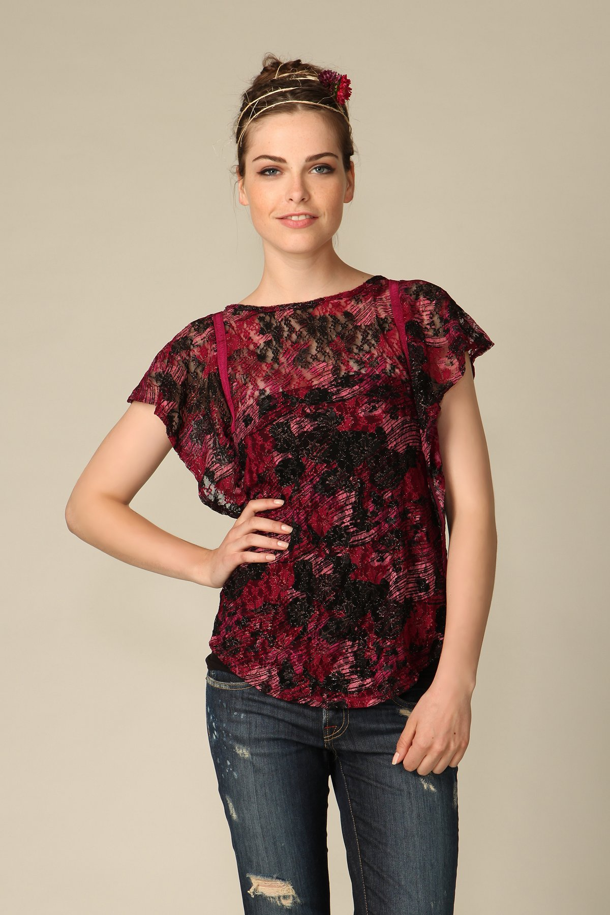 Printed Lace Flutter Top