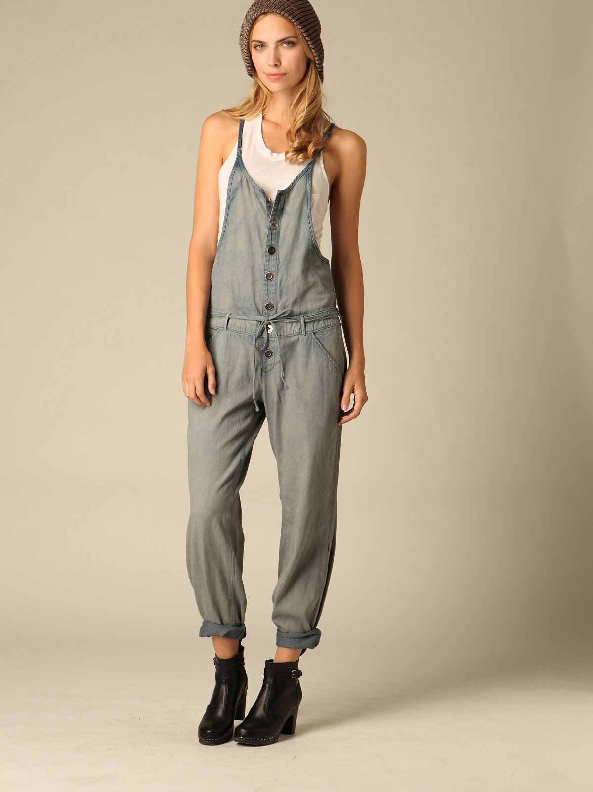 Loose Denim Coveralls