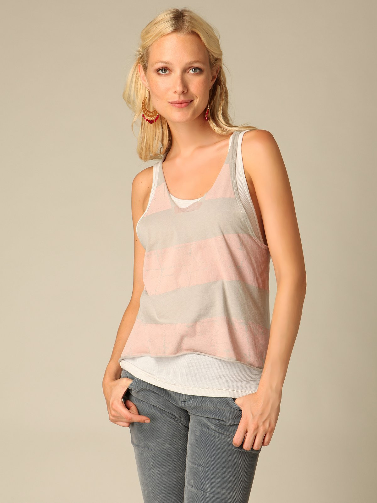 Shredded Rugby Stripe Tank