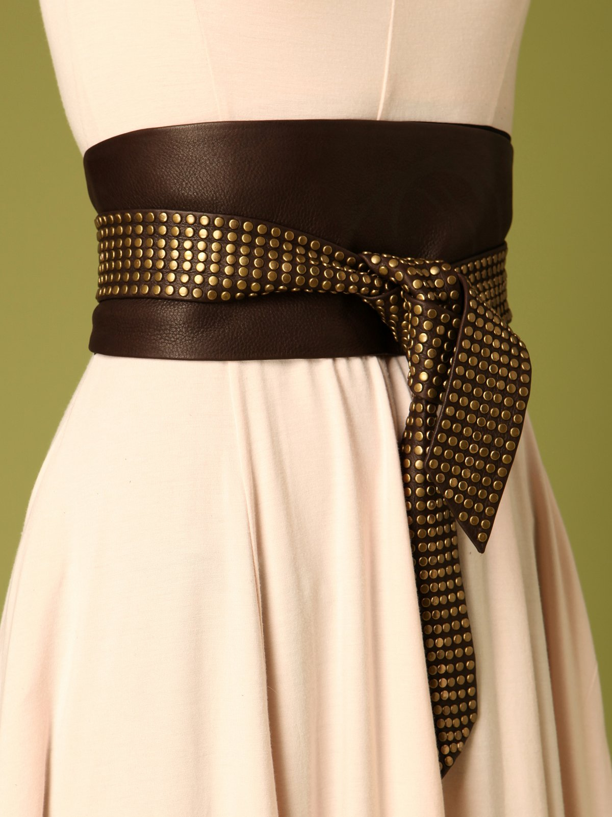 Leather Studded Sash Belt