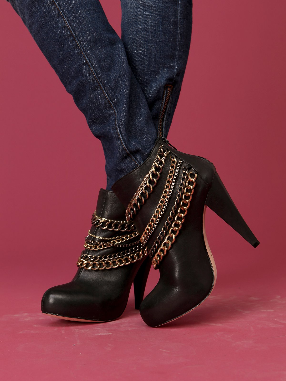 Flash Layered Chain Ankle Boot