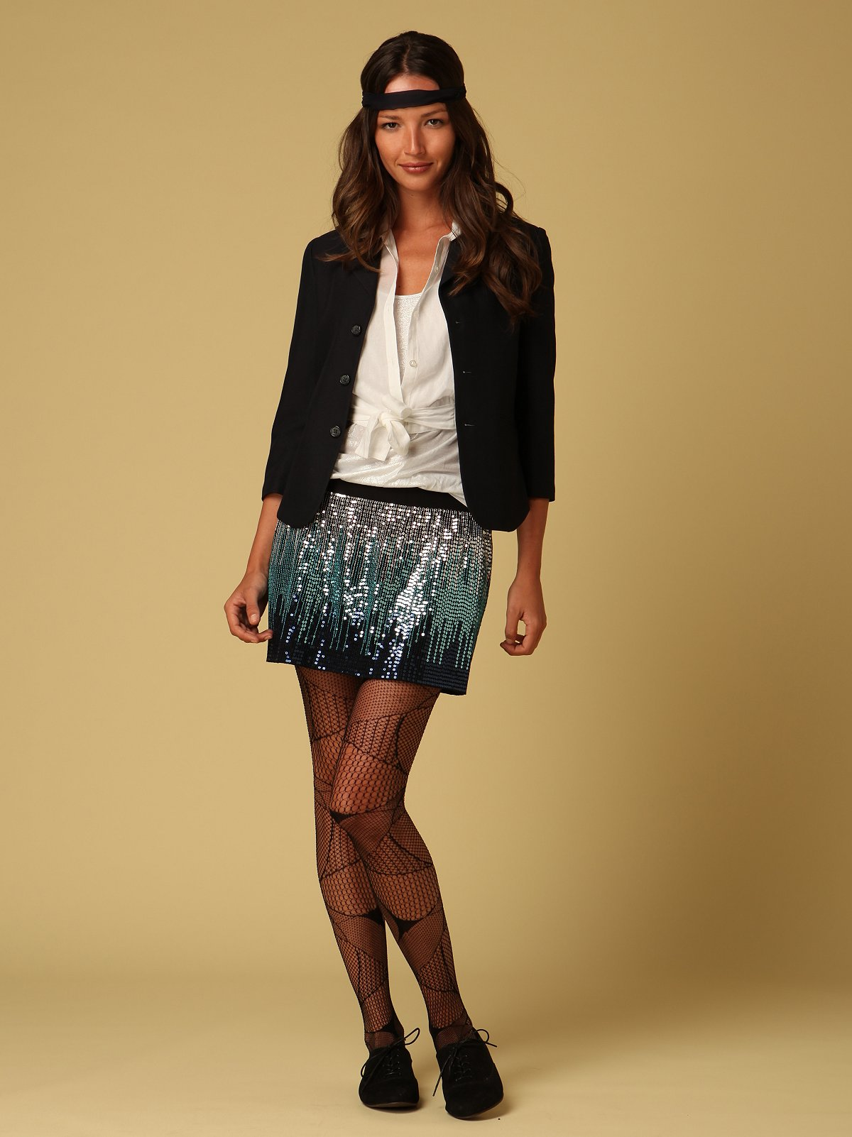 Cascading Sequin Mini Skirt