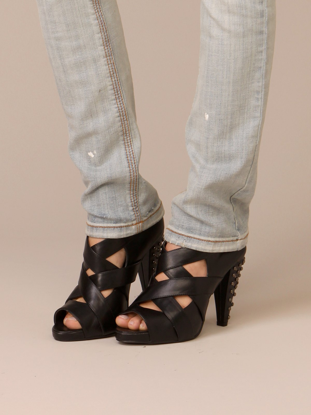 Criss Cross Studded Heel
