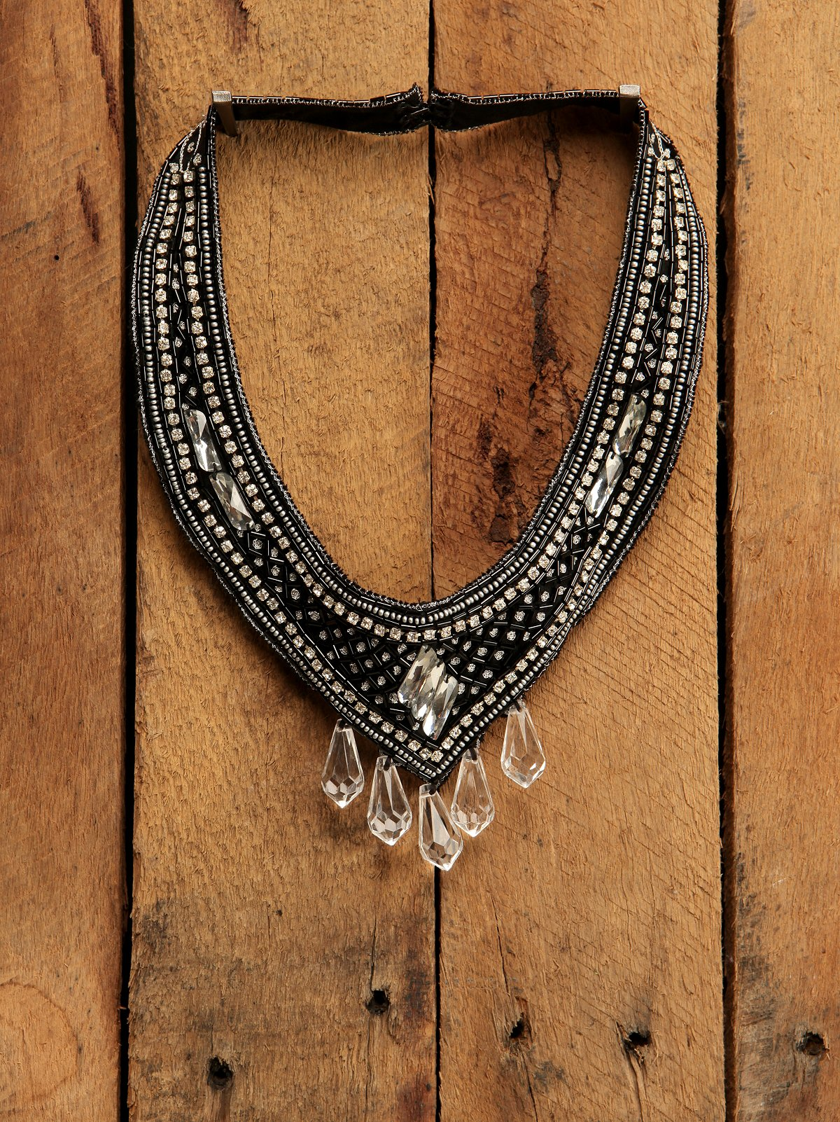 Black Crystal Rhinestone Bib Neck