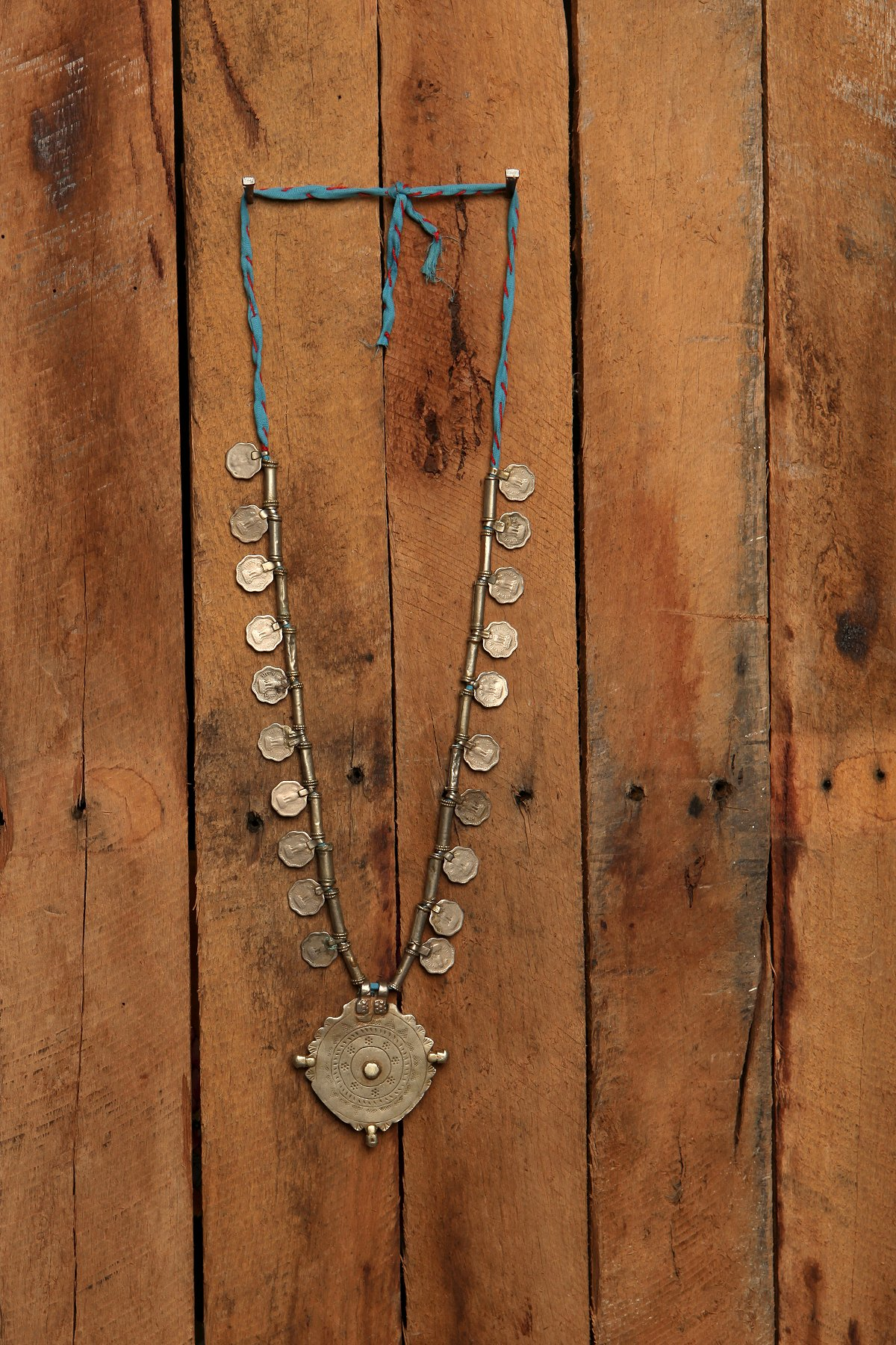 Silver Disc and Rope Necklace