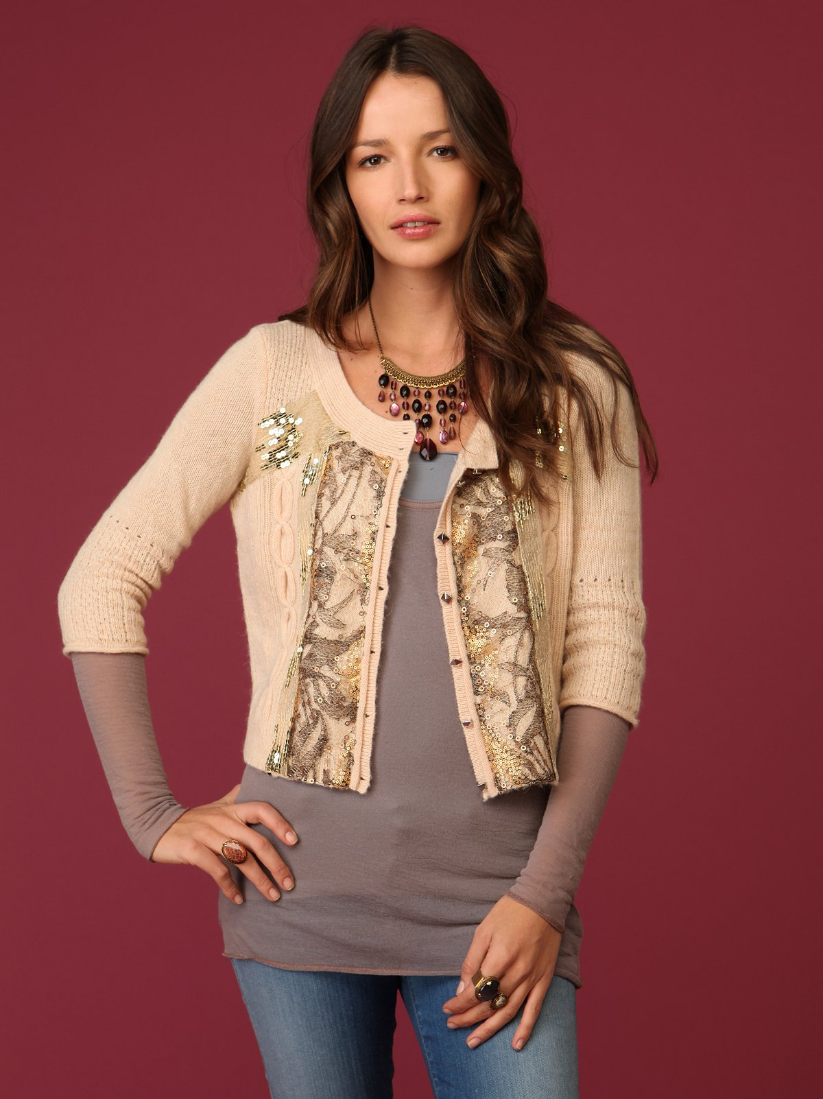 Cable Pieced Cardigan