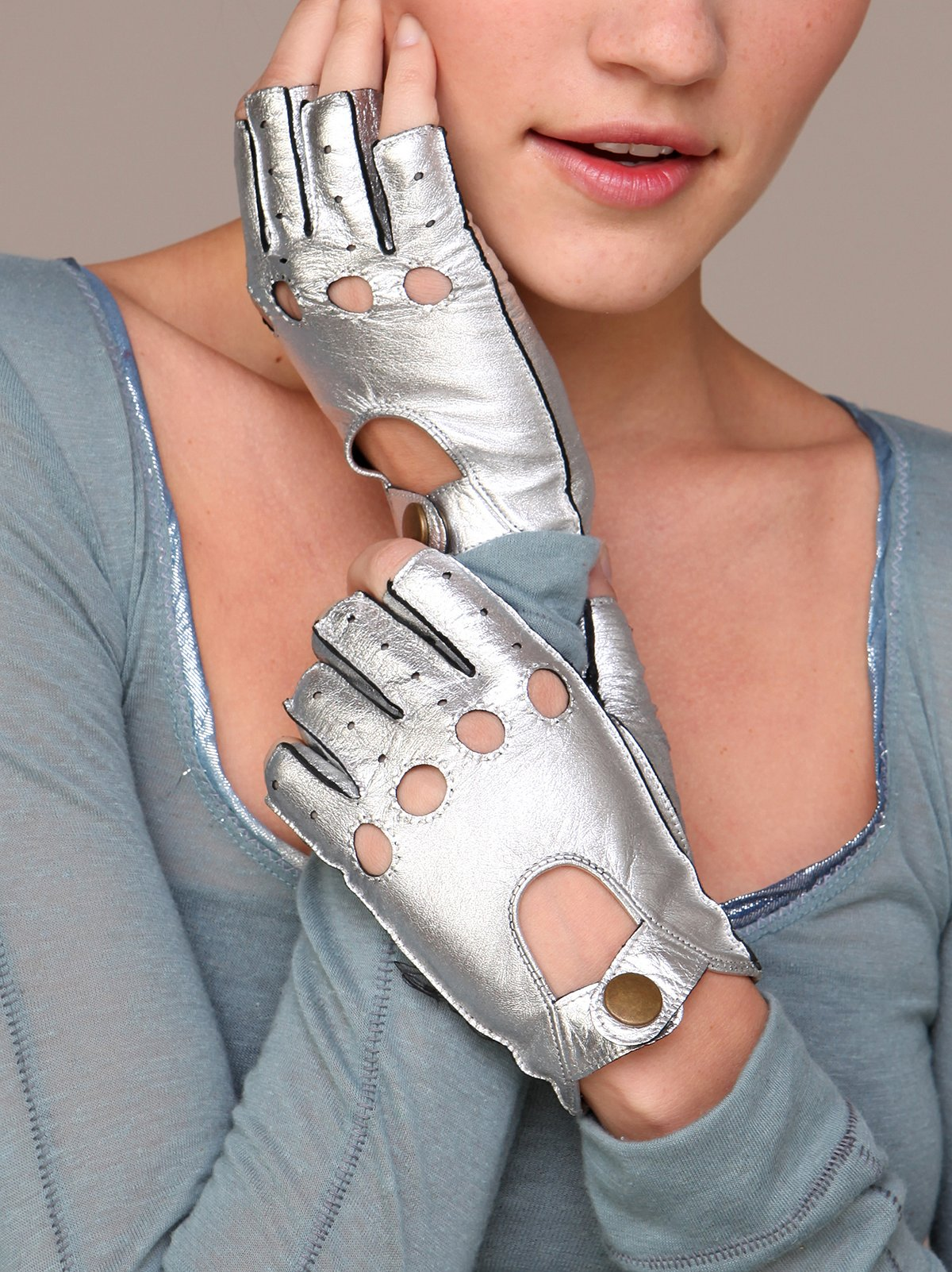 Metallic Driver Fingerless Glove