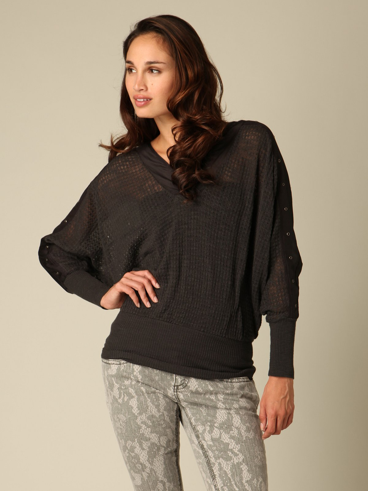 Sheer V-Neck Dolman Top