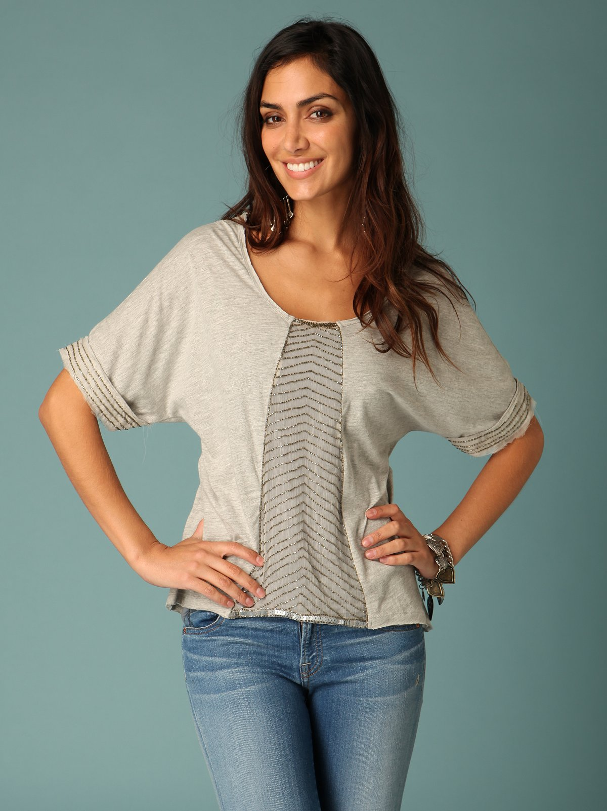 Embellished Dolman Sleeve Top