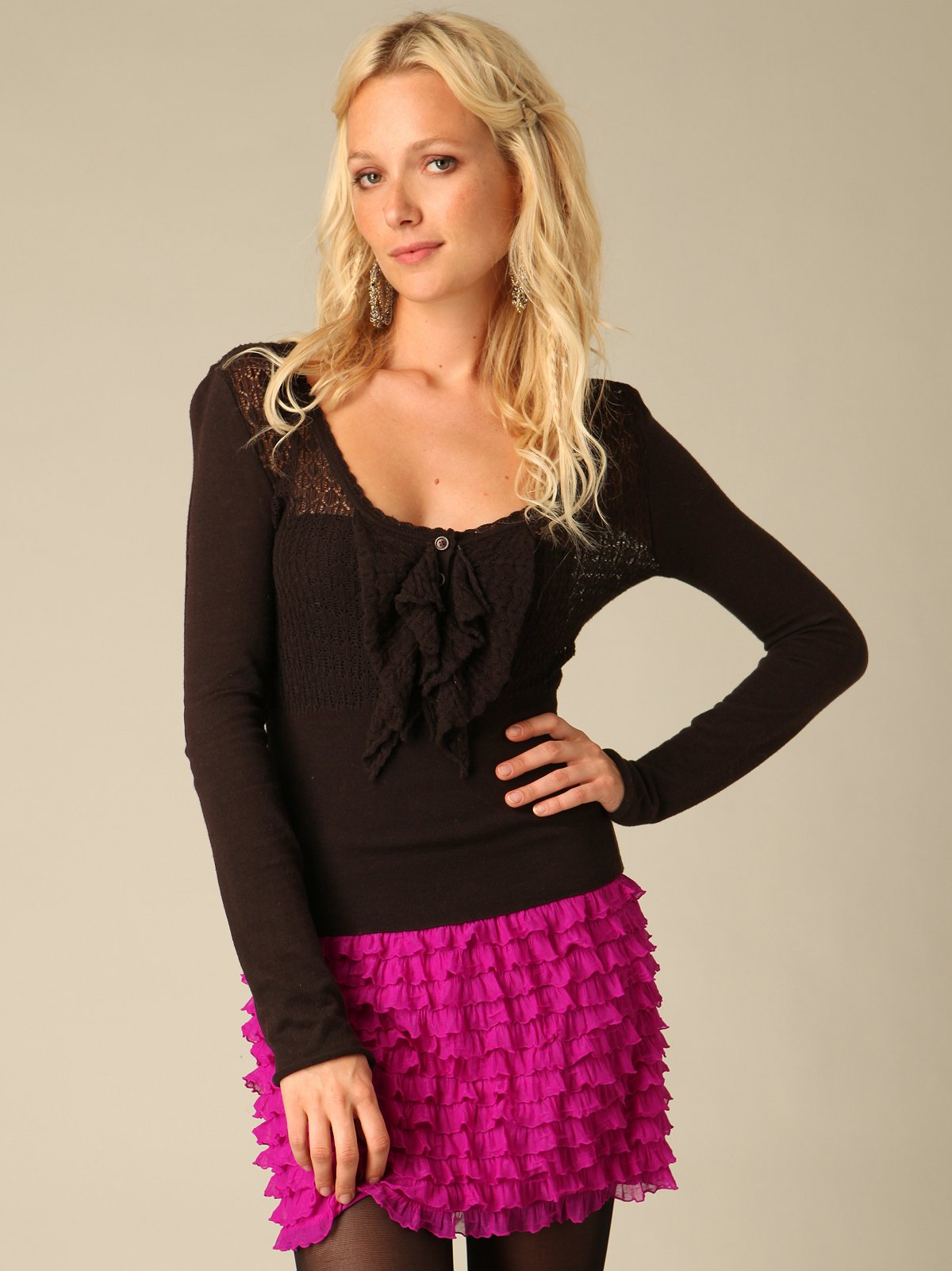 Pointelle Ruffle Sweater