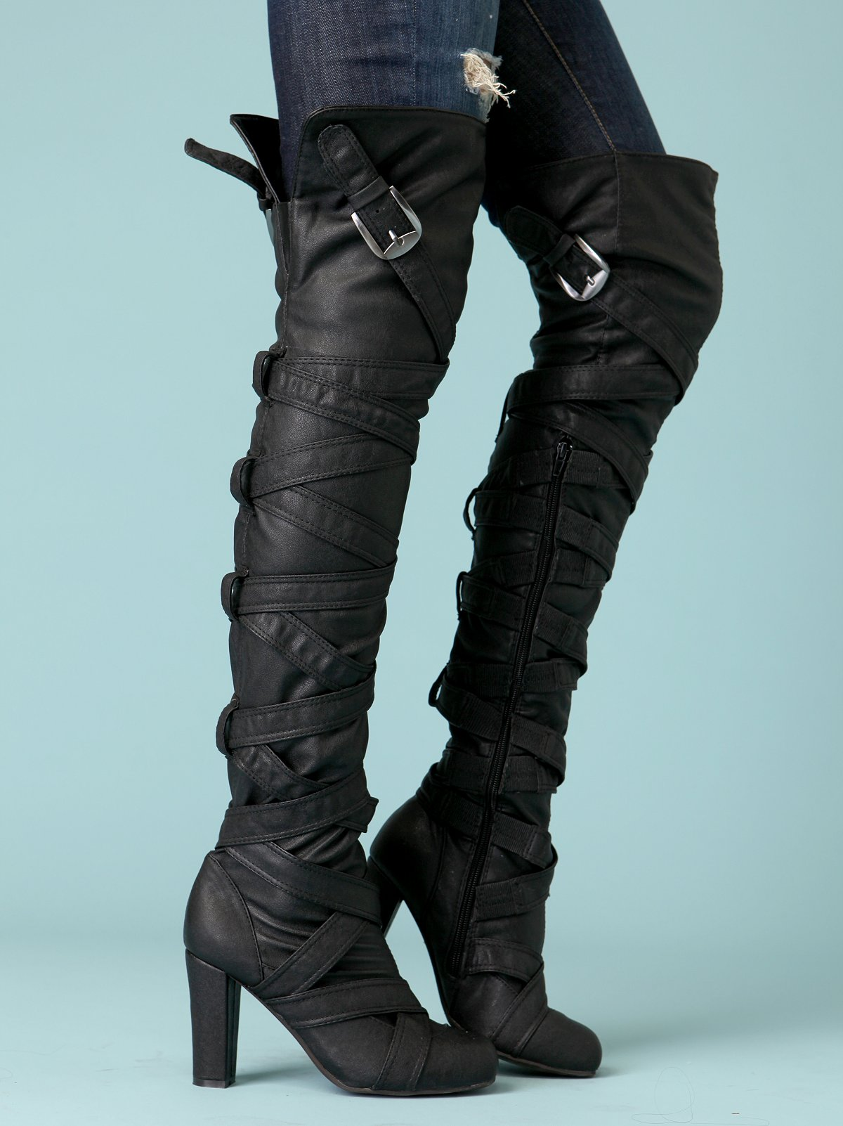Strappy Heel Over The Knee Boot