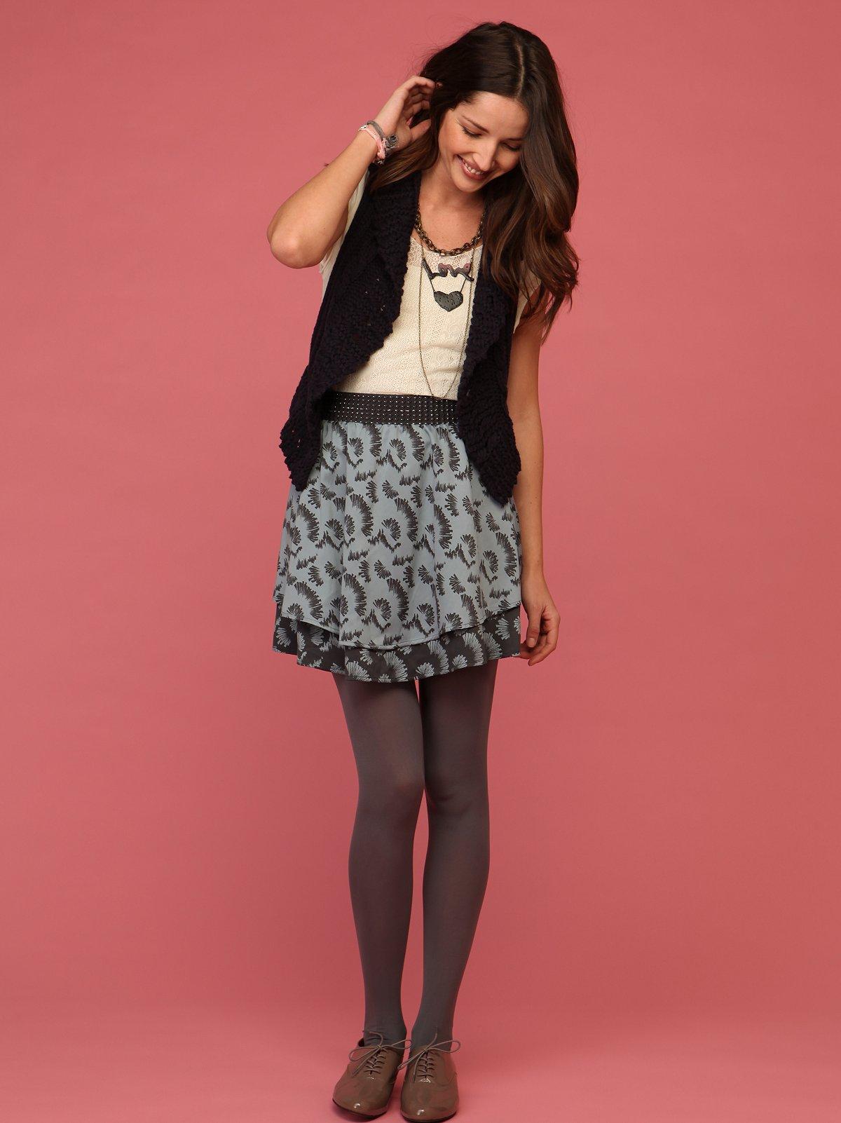 Silver Jacquard Skirt